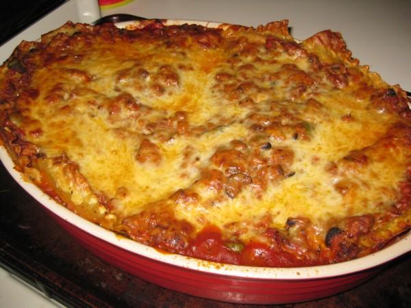 Lasagna in Le Creuset Bake Ware Pan