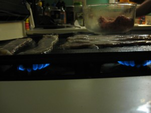 Lodge Cast Iron Reversible Griddle on Gas Stove